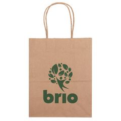 brown paper bag with an imprint saying Brio
