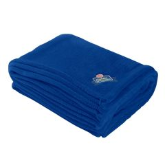 blue plush blanket with an embroidered imprint saying ccb hammel tournament