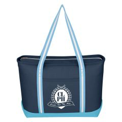 navy cotton tote bag with blue and white carrying handles, front pocket, zippered main compartment, and an imprint on the front saying clph center for the arts