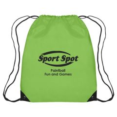 personalized polyester drawstring bag with simulated leather corners
