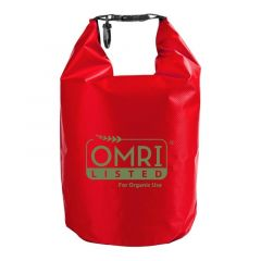 large red dry bag with an imprint saying OMRI Listed for organic use