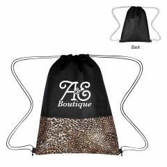 personalized leopard print drawstring bag with drawstring closure