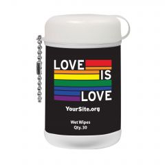 Gay Pride Love Is Love Mini Wet Wipe Canister