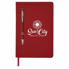 personalized red journal with matching pen, string bookmark, and a white imprint saying sun city heathy living