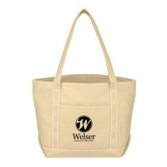 personalized cotton tote bag with carrying handles and front pocket