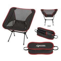 custom red and black mesh foldable chair with travel bag. the travel bag has an imprint on top with a lifeline logo and text above it saying victory