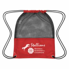 red drawstring bag with a mesh top and an imprint saying stallions regional basketball champions