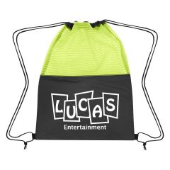 personalized drawstring bag with mesh top