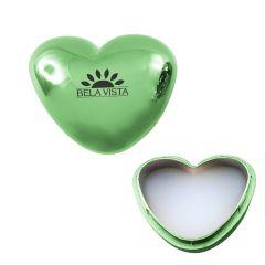 green heart-shaped lip moisturizer with an imprint saying Bela Vista