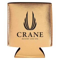 rose gold metallic koozie with an imprint saying crane resort and spa
