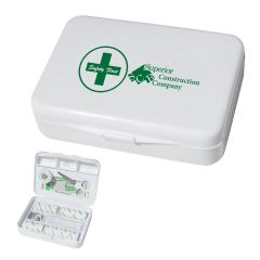 personalized white first aid kit with include emergency supplies
