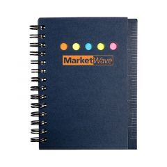 a blue spiraled notepad with an ruler on the side and an imprint saying Market Wave
