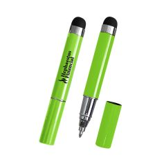 green mini pen with a stylus on top and an imprint saying Hephaestus Financial