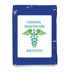 mini tissue packets with in blue, black, green, red, pink, and white in multiple different logos