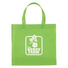 green non-woven tote bag with an imprint in the middle saying the berry farm