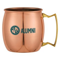 a copper Moscow mule mug with an imprint saying West Coast University Alumni