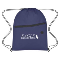 personalized non-woven drawstring bag with front zippered pocket and earbuds slot