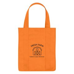 orange non woven shopper tote with an imprint saying fresh gam florida's great produces