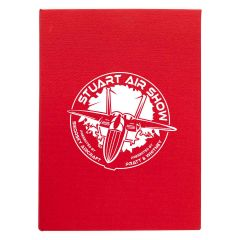 personalized red notebook with imprint on front