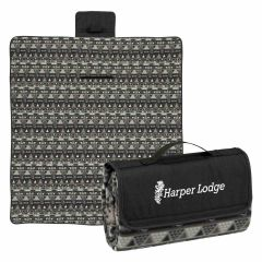 patterned roll up blanket with an imprint on the flap saying harper lodge