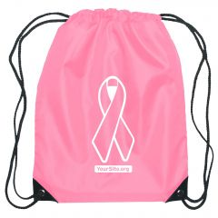 Pink Ribbon Breast Cancer Awareness Drawstring Bag