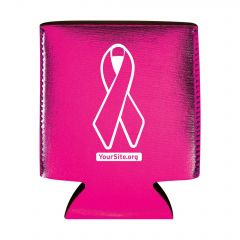 Pink Ribbon Breast Cancer Awareness Metallic Koozie Can Cooler