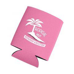 pink can cooler with an imprint saying tropical hut restaurant & beach bar