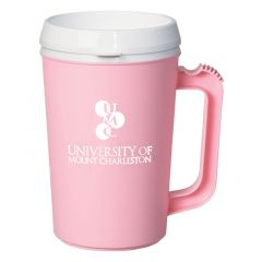 pink insulated mug with white lid and an imprint saying university of mount charleston
