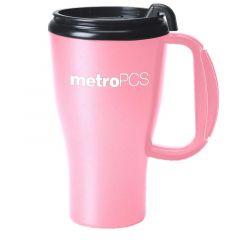 pink mug with black lid and an imprint saying metroPCS