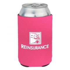 pink can cooler with an imprint saying reinsurance insurance