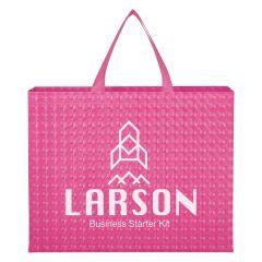 pink laminated tote bag with an imprint saying larson business starter kit