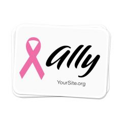 a stack of white stickers with a pink ribbon, text saying ally next to it, and yoursite.org text on the bottom