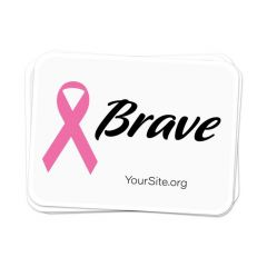 a stack of white stickers with an imprint of a pink ribbon next to a text saying brave and yoursite.org text below