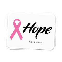 a stack of stickers with an imprint of text in cursive saying hope next to a pink ribbon and yoursite.org text below