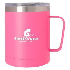 pink stainless steel mug with a clear top lid and an imprint saying cliffton gear outdoor store
