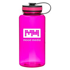 pink plastic bottle with a attached pink and black lid and an imprint saying mood media
