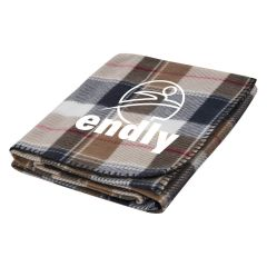 custom khaki, red, white, and black plaid fleece blanket with an imprint of a stick figure jumping and text below saying endly