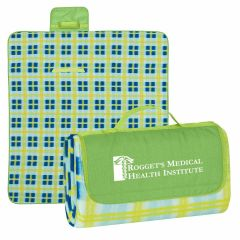custom patterned roll up blanket and an imprint on the flap of the blanket saying rogget's medical health institute