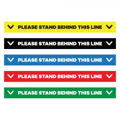 please stand behind this line floor decal in yellow, black, blue, red, and green