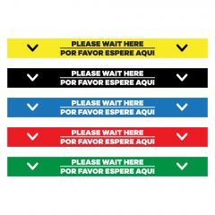 colored please wait here decals in spanish and english in yellow, black, blue, red, and green