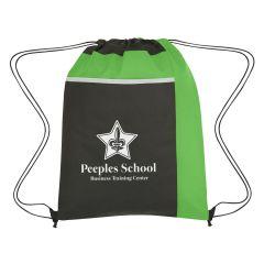 black drawstring sportpack with green trim