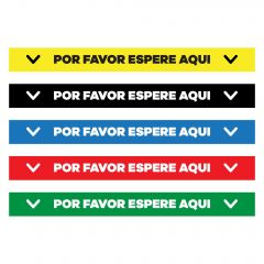 floor decal in yellow, black, blue, red, and green with text saying por favor espere aqui in between two arrows pointing down