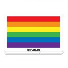 A rainbow pride sticker with yoursite.org text below