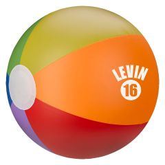 personalized rainbow beach ball with imprint on front