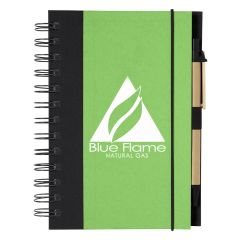 personalized green spiral notebook with paper barreled black pen