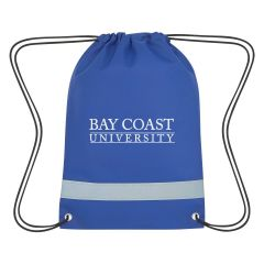 personalized drawstring bag with reflective strip