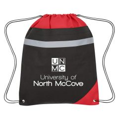 personalized drawstring bag with reflective strip, reinforced eyelets, and front hook and loop pocket