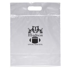 clear resealable bag with a die-cut handle, bottom gusset, and an imprint saying Madison Official Team Hotel