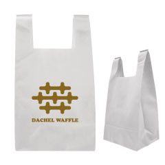 white non-woven tote bag with an imprint saying Dachel Waffle