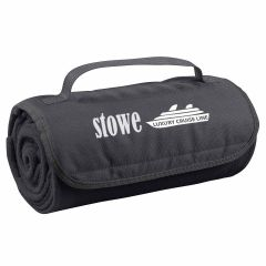 Custom charcoal roll up blanket with carrying strap and an imprint on the flap of a cruise ship with text below saying luxury cruise line and text to the left saying stowe